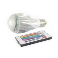 1pcs E27 10W RGB LED Lamp Memory Function ALuminum Ball Light Bulb +16 Colors Remote Control  85-265V