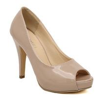 New 2014 Elegant Peep Toe Nude Pumps For Women Fashion Patent Leather Platform High Heels Women Work Shoes Ladies Office Heels