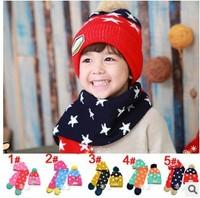 1SET Children Skullies & Beanies Scarf Hat Set Baby Boys Girls Knitted Kids Hats & Caps  Free Shipping #909