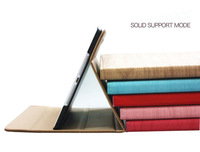 Business PU Leather Stand Case for iPad 4 3 2 Smart Cover Sleep Function with 6 Wood styles fashion design Free Shipping