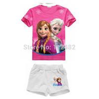 Frozen Princess Girls Kids Suit Outfits Clothing Short sleeve + short pants Cartoon Character Leisure children's clothing
