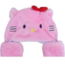 Adult Kid's Cartoon Animal Plush Warm Bow Hello Kitty Hat Cap Scarf Gloves 3 in 1(China (Mainland))