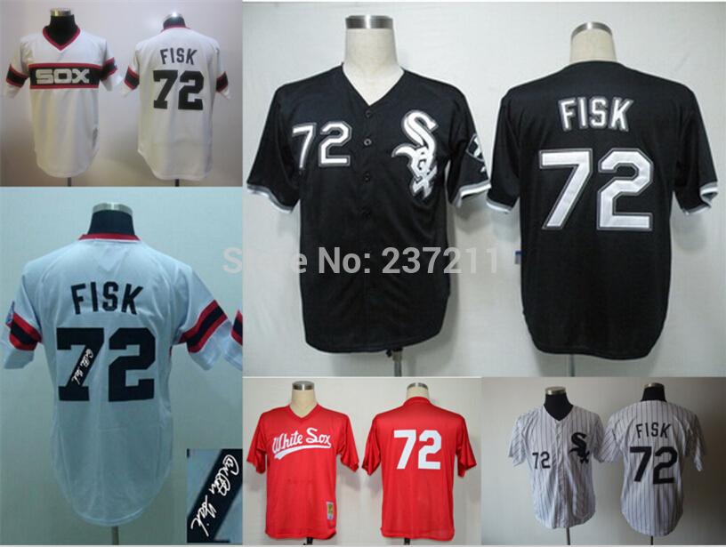 Free Shipping Chicago #72 throwback Carlton Fisk Jersey White Sox Black Red White Stripe Baseball Embroidery Logo Size 48-56(China (Mainland))