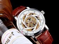 Dress Stylish Transparent Case Mechanical Self Wind Watches Men Genuine Leather Business Dress Clock Skeleton Relojes NW1033