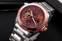 Novel Coffee Dial Men Dress Watches Fashion Business Full Steel Analog Wristwatch Tourbillon Self Wind Clock 3ATM Relojes NW1036