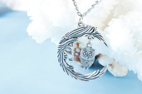 Wholesale~ Harry potter jewelry Owl necklace,moon necklace,retro silver little cute owl and crescent moon pendant