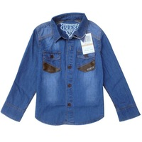 Foreign trade children's clothing new fashion embroidery comfortable long-sleeved denim shirt wholesale boys 6 yards