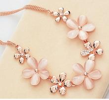 Korean Exquisite Luxury Elegant Women Wedding Opal Flowers Sparking Crystal  Necklace  N2588