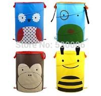 4 Designs Eco-Friendly Children Folding Cartoon Animal Canvas Storage Basket Kids Laundry/Toys/Clothes Organization Baskets