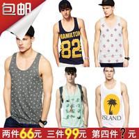 818 fashion pure cotton vest male loose plus size vest male sweat absorbing print vest beach sports vest