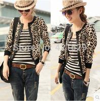 2014 New Autumn Ladies Fashion Jacket  Big Code Leopard Print  Jacket Slim Long Sleeved Knitted Coat Free Shipping