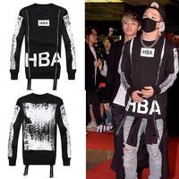 Autumn/Winter mens hba sweatshirt o-neck  zipper Personality design 3D print on back fleece hip hop hoodies man hba hoodie
