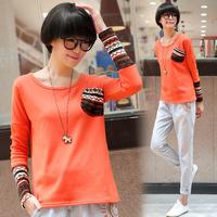 Tx540 2014 female o-neck patchwork long-sleeve plus velvet thickening loose r basic sweatshirt