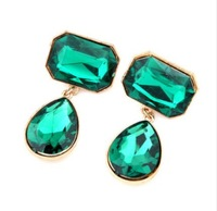 CTT Wholesale 2014 New Fashion Jewelry For Women Four Colors Water Drop Temperament Good Quality Metal Gem Stud Earrings