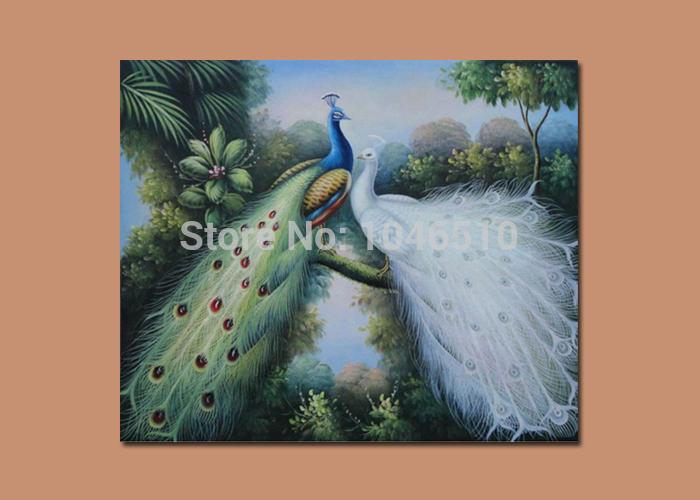 Alta qualidade pavão decoração decoração arte da parede na lona pintura a óleo abstrata moderna 2 azul branco pavões no ramo de árvore(China (Mainland))