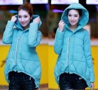 2014 winter wadded jacket women's irregular cotton-padded outwear 5colors, L/XL/XXL