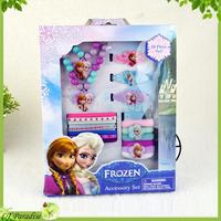 180pc/10 boxes Fashion Frozen Jewerly Set Children Necklace Pendant Kids Bracelet Jewelry Girl Hair Jewelry Accessory Set