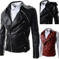 Free Shipping 2014 personalized fashion personality male slim large lapel short design zipperleather clothing men leather jacket