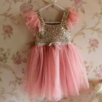 Momo - Fashion Girls Sequins dress New 2014 Summer Korean version Children Gauze Camisole Princess, girl Party Dresses 5pcs/lot