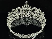 Free Shipping Trendy Cute Hi Q Crystal Zircon Symmetric Tiara Crown Wedding Ball Jewelry 8648