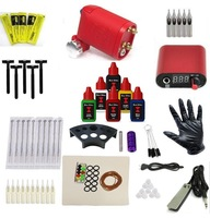Free Shipping Pro Complete set Rotary Tattoo machine tattoo kit tattoo equipment set 6colors black time outlining inks