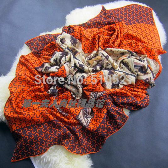 140x140cm 2014 new warm winter cashmere pashmina / women orange horse scarf wraps free shipping(China (Mainland))