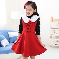 2014 new kids girls winter woolen clothing woolen vest bowknots girls large bow dress