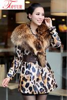 New Women Winter Real Genuine Sheepskin Leather Long Coat With super luxury raccoon fur collar DHL EMC Free Shipping FP333
