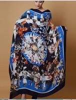 140x140cm 2014  winter super large cashere scarf / women blue silk scarf wraps wool pashmina free shipping