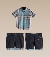 2014 new free shipping Summer baby boys Clothing set plaid t shirt+shorts kids clothes conjunto de roupa yes turn-down collar
