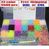 5500pcs 22Color!Free DHL/EMS Rubber Loom Bands DIY Charm Bracelet Children Development Intelligence,Powerful Gift! Wholesale