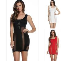 2014 New Fashion Ladies' Elegant Black White Red Mini Dresses Sexy Sleeveless Evening Party Slim Dress Mesh Bandage Dresses