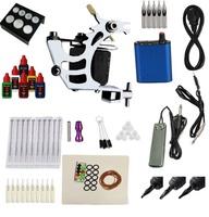 Free Shipping 1 Machine Tattoo Kit Equipment Ink Gun Set Tatoo 6colors ink