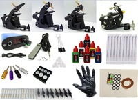 Free Shipping  Complete Tattoo Kit 4 Machine Gun 6 Color Inks 50 Needles Power Supply Set
