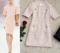 High Quality 2014 Autumn Winter Brand Runway OL Business Dress Celebrity Fashion Half Sleeve Stand Collar Pocket Wool Dress XL