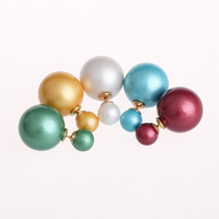 Free Shipping New arrival Multicolor Two Side Wear Imitation Pearl Stud Earring For women Valentine's Day Gift CTBE16-031
