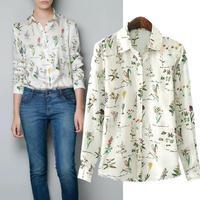 2014 New women fashion long sleeve shirts printed casual chiffon blouse metal collar clip loose blouses  free shipping