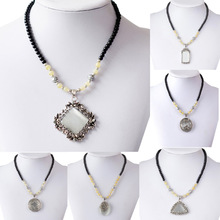 Fashion Vintage Necklace Square Oval Round Circle Rectangle Long Necklace Opal Carved Drop Flower Beaded Necklaces Pendants(China (Mainl