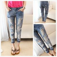 New fashion popular 2014 autumn summer women denim jeans,slim destroyed hole jeans woman,high street good quality girls trousers