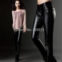 S M L XL XXL 3XL 4XLsize women trousers free shipping 2014 winter fashion plus size thicken warm faux leather pants high quality