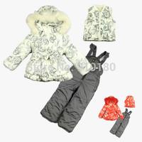 Girls fashion winter ski baby&kids clothing set windproof warm fleece set 3pcs suits(waterproof coat+vest+pants)