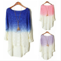 Hot sale2014Autumn New Sweet Gradient Candy Color Pullover Knitted Women Sweater Thin Swallowtail Plus Size Loose Sweater Dress