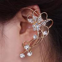 2014 Fashion Rhinestone Flower Ear Cuff Earrings Luxury Punk Roses Stud Earrings Free shipping