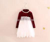 Kids autumn lace gauze tutu dress , kids party dress , dress princess , 6pcs/lot    YS33