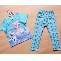 frozen pajamas suits children kids Short sleeve & Long sleeve clothing sets princess Anna Elsa clothes GOOD quality