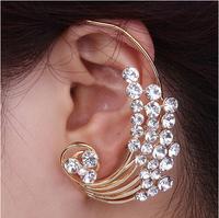 2014 Fashion Rhinestone Ear Cuff Earrings Luxury Elegant Roses Stud Earrings Free shipping