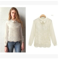 2014 Peter Pan Collar Long Sleeves Lace Embroidery Double Layer White Chiffon Blouse Brand Elegant Office Work Wear Shirt  Women