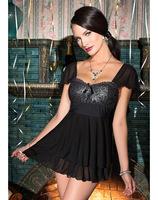 Wholesale Women's Lingerie Uniforms Babydoll Nightwear Metallic Lace Padded Babydoll I2912