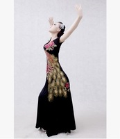 Large peacock embroidered large swing dance dress dance costumes in kind shooting modern dress female