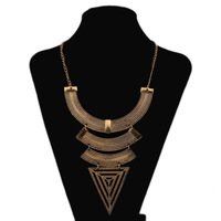Free shippng Retro exaggerated geometric triangle clavicular Necklace
